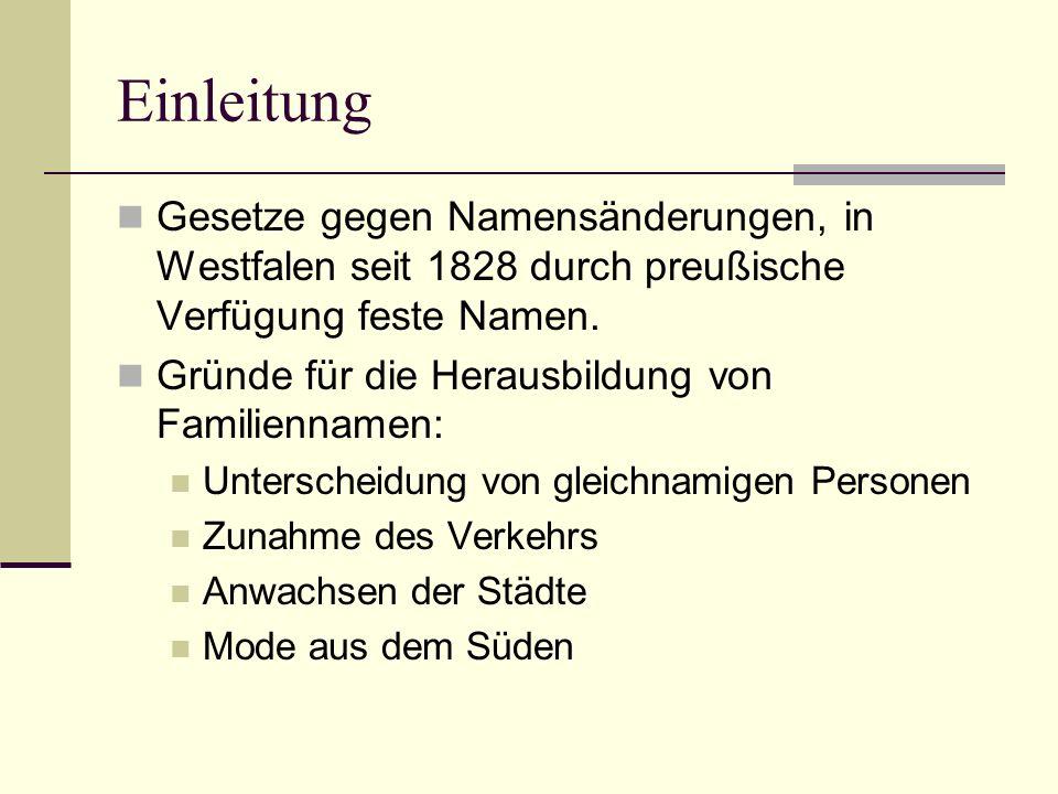 Einleitung Gesetze gegen Namensänderungen, in Westfalen seit 1828 durch preußische Verfügung feste Namen.