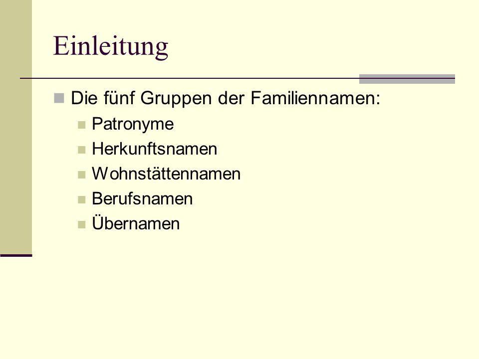 Einleitung Die fünf Gruppen der Familiennamen: Patronyme