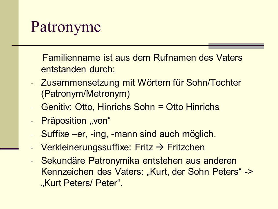 PatronymeFamilienname ist aus dem Rufnamen des Vaters entstanden durch: Zusammensetzung mit Wörtern für Sohn/Tochter (Patronym/Metronym)