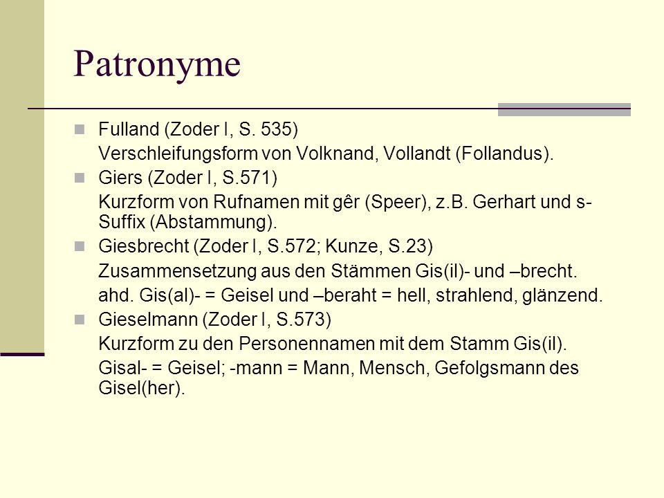 Patronyme Fulland (Zoder I, S. 535)