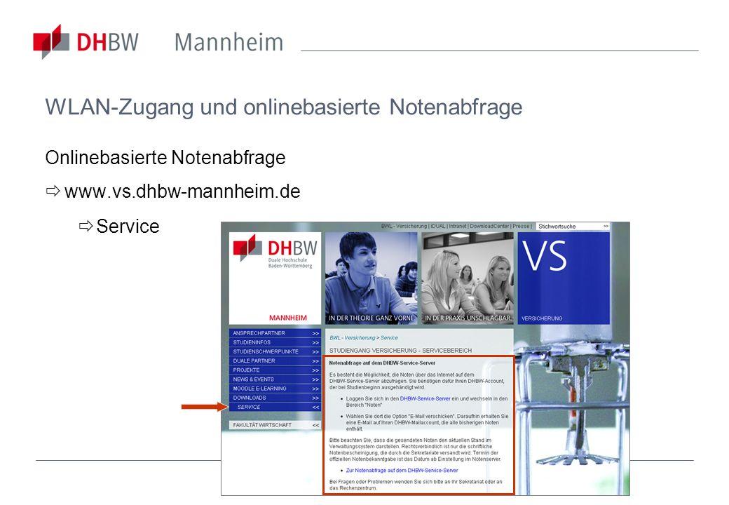 WLAN-Zugang und onlinebasierte Notenabfrage