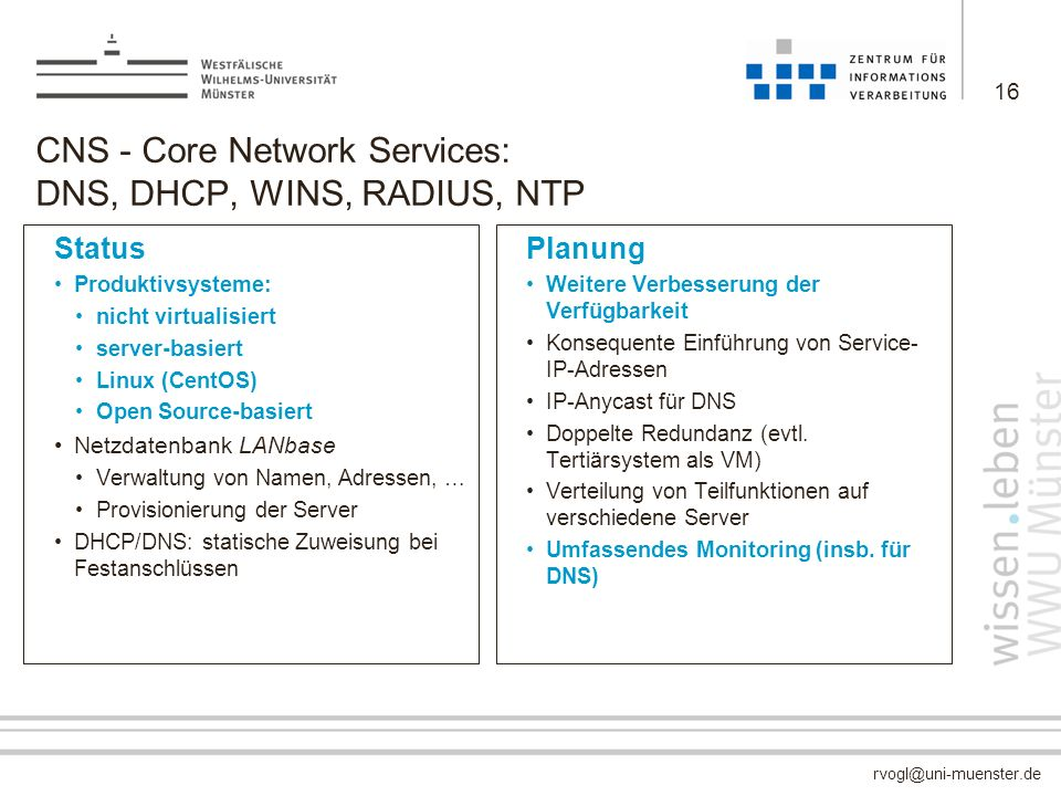 CNS - Core Network Services: DNS, DHCP, WINS, RADIUS, NTP