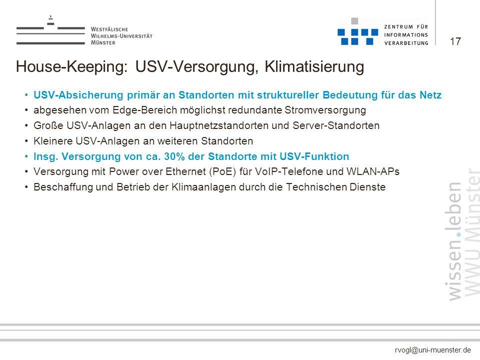 House-Keeping: USV-Versorgung, Klimatisierung