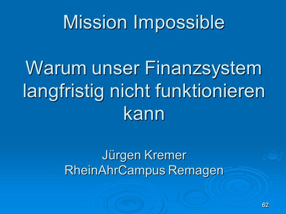 30.03.08 Mission Impossible. Warum unser Finanzsystem langfristig nicht funktionieren kann Jürgen Kremer RheinAhrCampus Remagen.