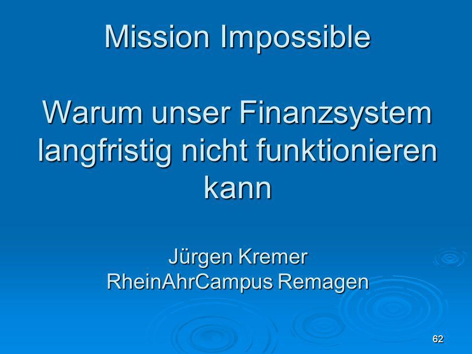 30.03.08Mission Impossible. Warum unser Finanzsystem langfristig nicht funktionieren kann Jürgen Kremer RheinAhrCampus Remagen.