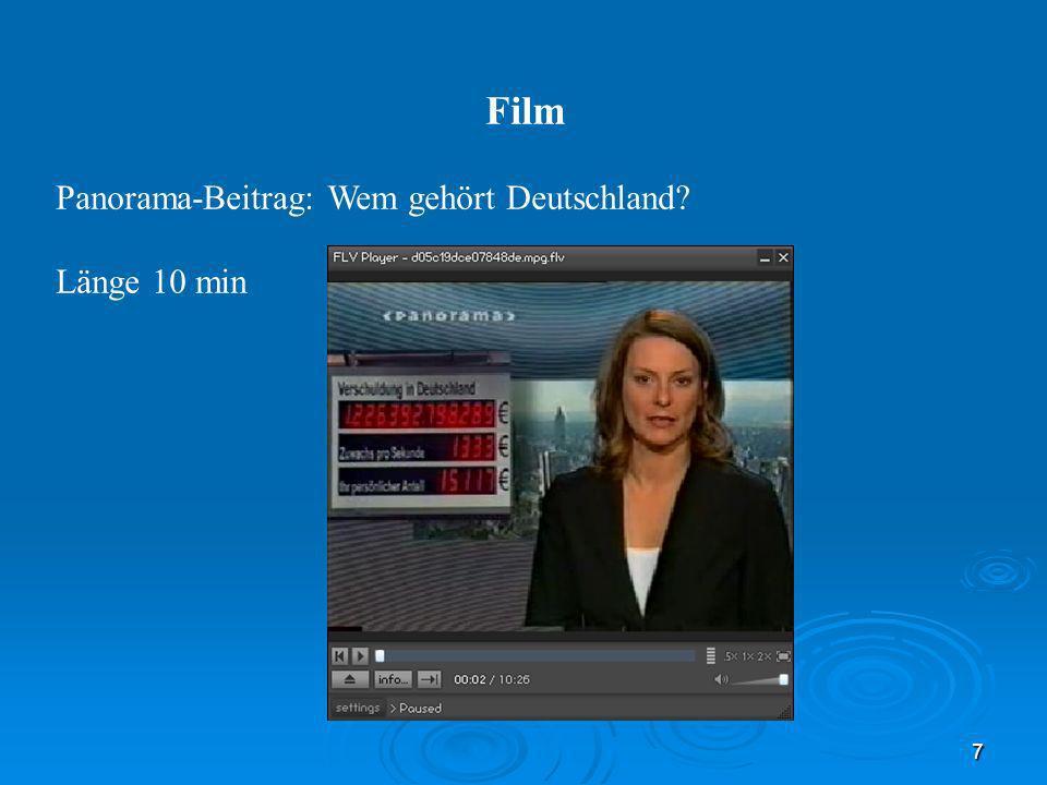 Film Panorama-Beitrag: Wem gehört Deutschland Länge 10 min 7 30.03.08
