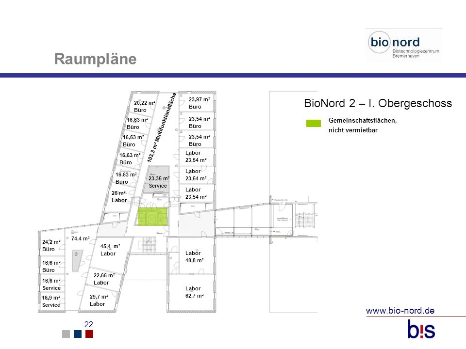 Raumpläne BioNord 2 – I. Obergeschoss www.bio-nord.de
