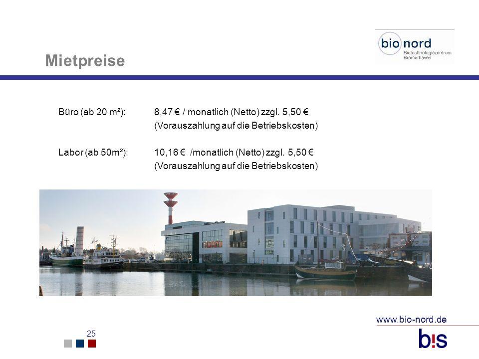 Mietpreise Büro (ab 20 m²): 8,47 € / monatlich (Netto) zzgl. 5,50 € (Vorauszahlung auf die Betriebskosten)