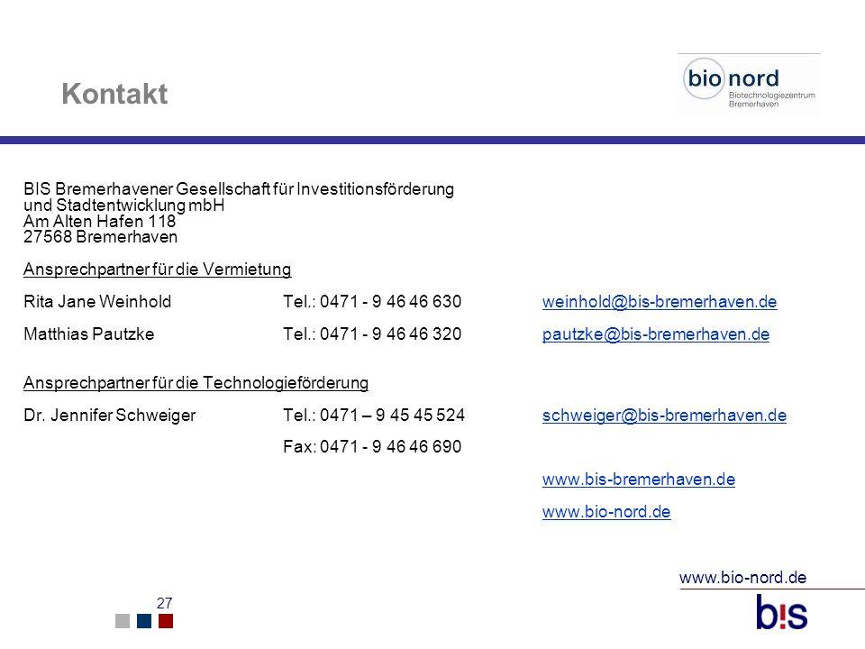 Kontakt BIS Bremerhavener Gesellschaft für Investitionsförderung