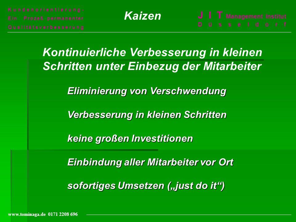 Kundenorientierung-Ein Prozeß permanenter. Qualitätsverbesserung. Kaizen. J I T Management Institut Düsseldorf.