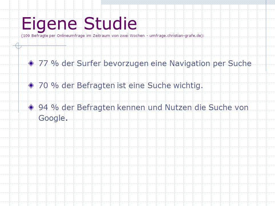 Eigene Studie (109 Befragte per Onlineumfrage im Zeitraum von zwei Wochen - umfrage.christian-grafe.de):