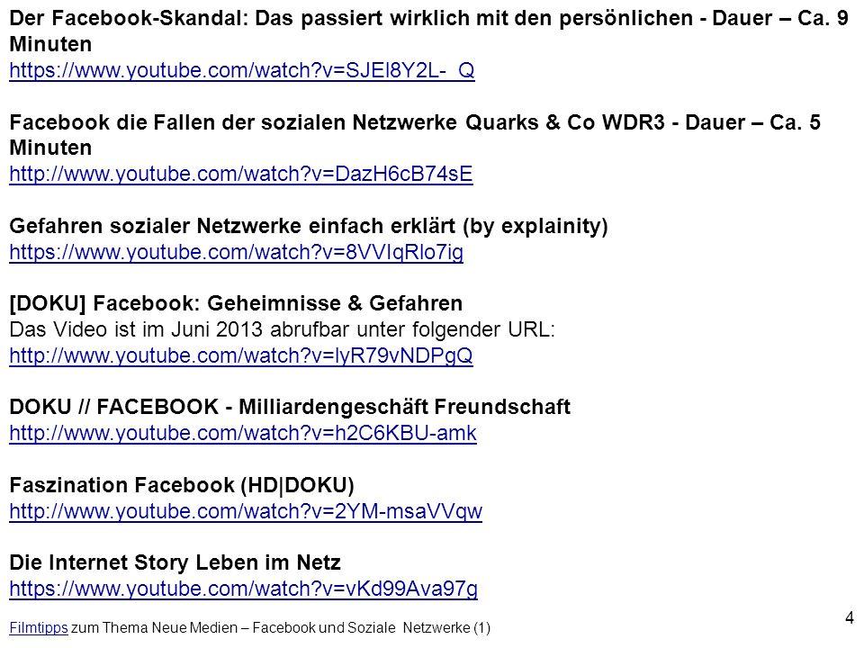 Filmtipps zum Thema Neue Medien – Facebook und Soziale Netzwerke (1)