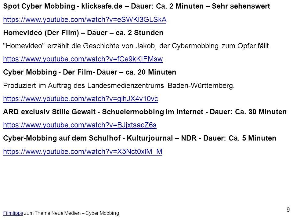 Filmtipps zum Thema Neue Medien – Cyber Mobbing