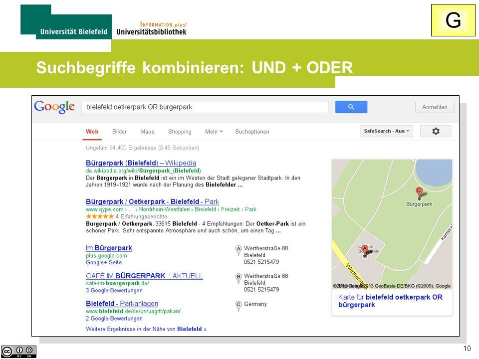 Suchbegriffe kombinieren: UND + ODER