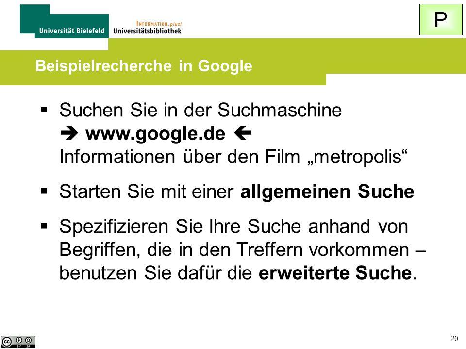 Beispielrecherche in Google