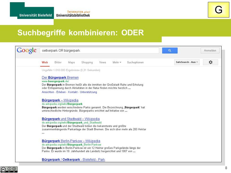 Suchbegriffe kombinieren: ODER