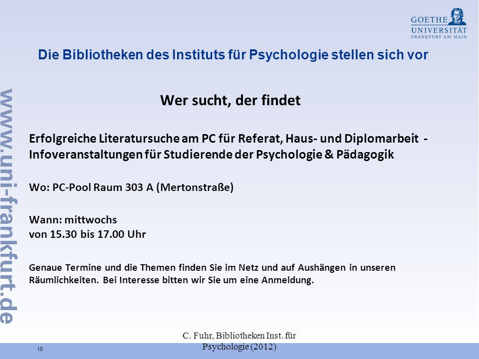 Die Bibliotheken des Instituts für Psychologie stellen sich vor