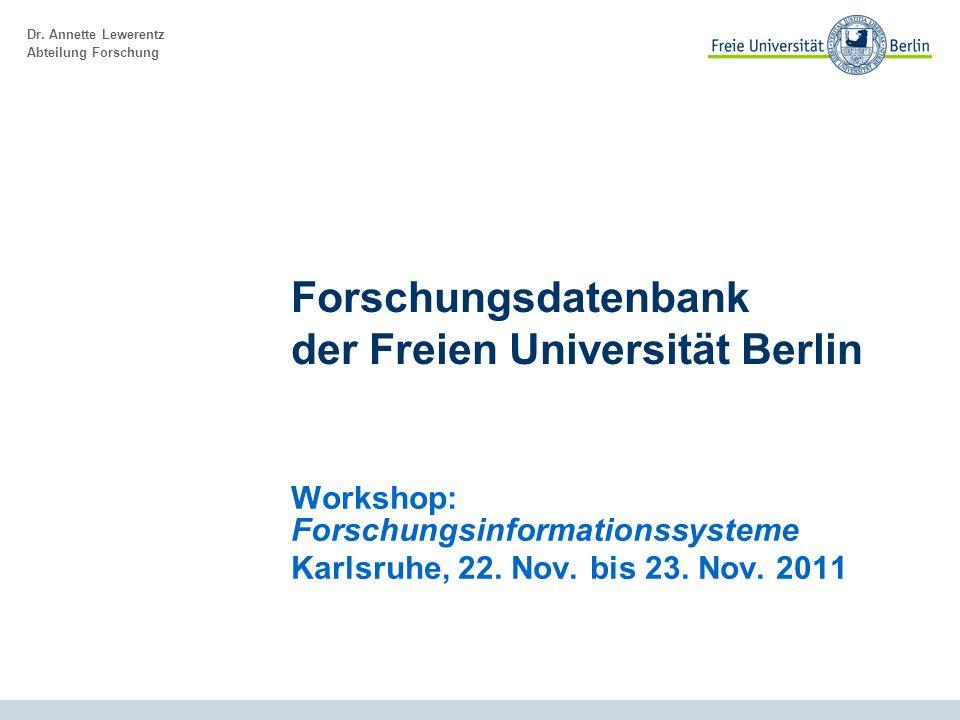 Forschungsdatenbank der Freien Universität Berlin