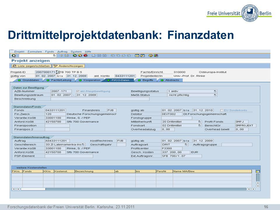 Drittmittelprojektdatenbank: Finanzdaten
