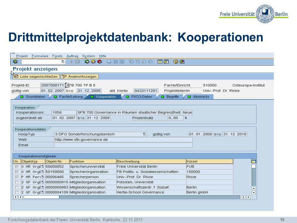 Drittmittelprojektdatenbank: Kooperationen