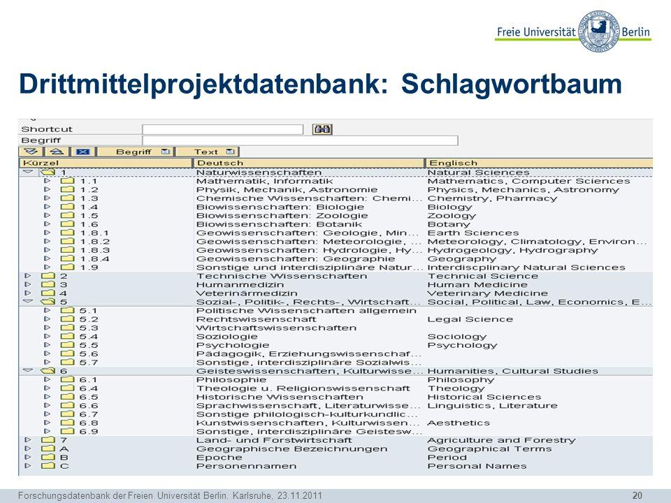 Drittmittelprojektdatenbank: Schlagwortbaum