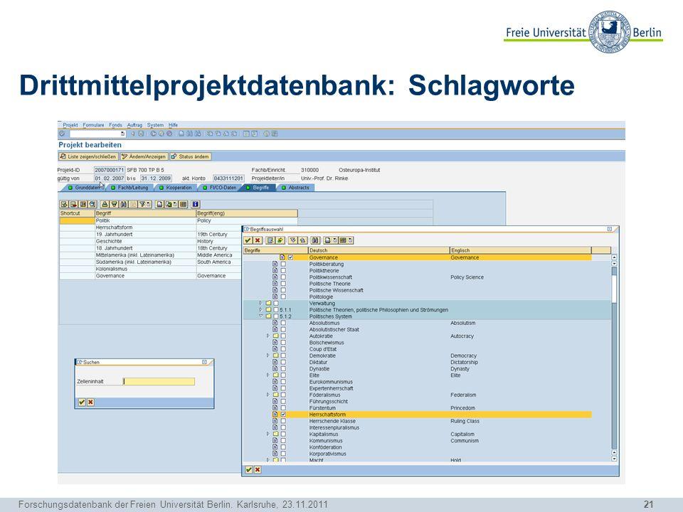 Drittmittelprojektdatenbank: Schlagworte