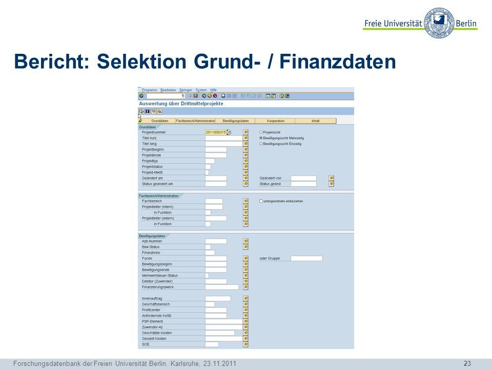 Bericht: Selektion Grund- / Finanzdaten