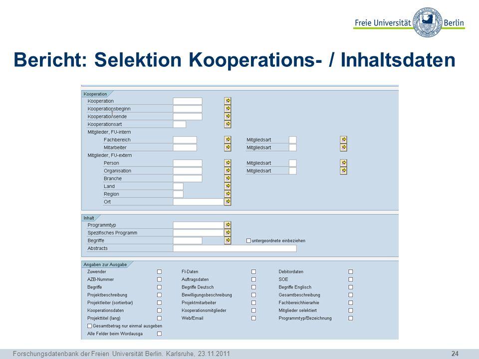 Bericht: Selektion Kooperations- / Inhaltsdaten
