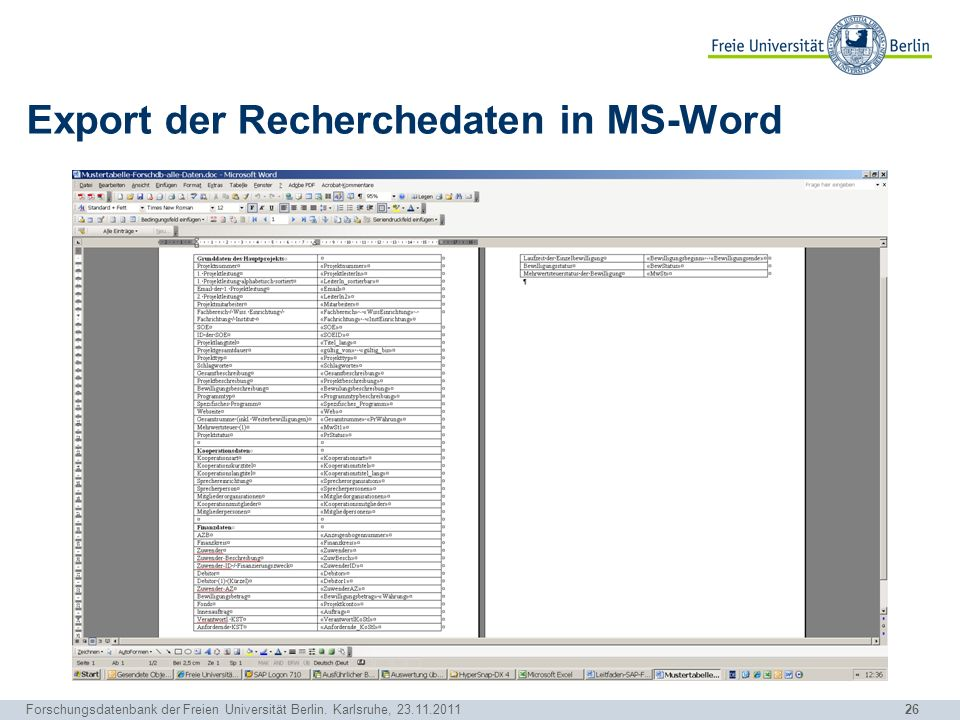 Export der Recherchedaten in MS-Word