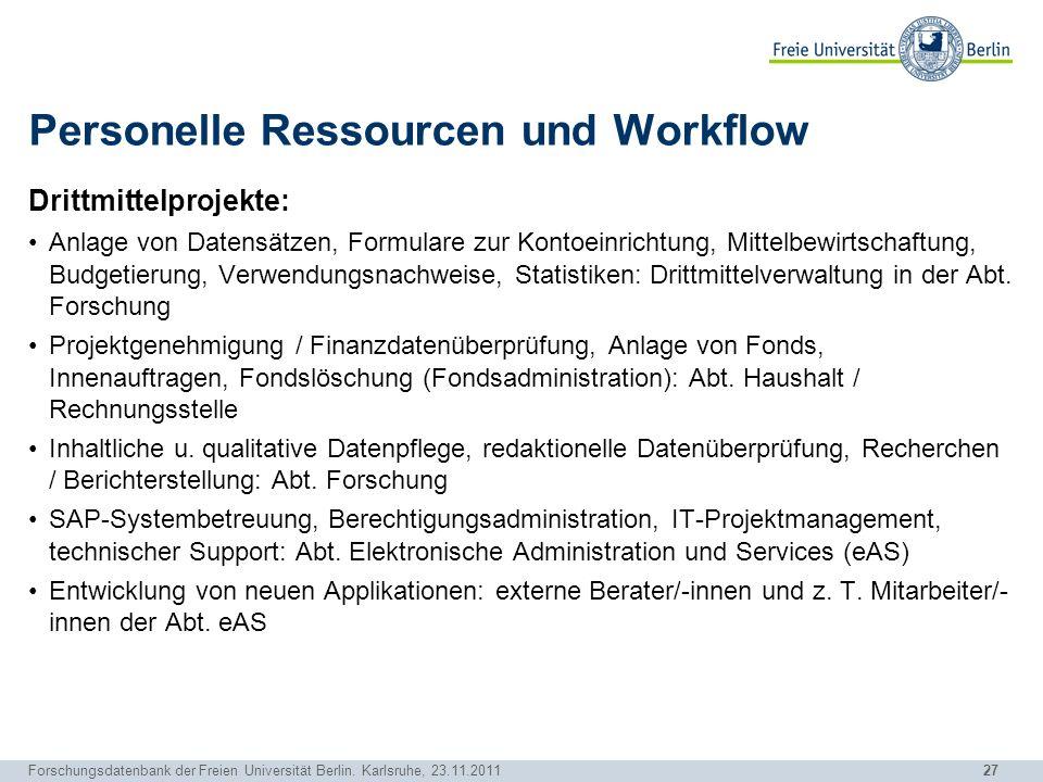 Personelle Ressourcen und Workflow