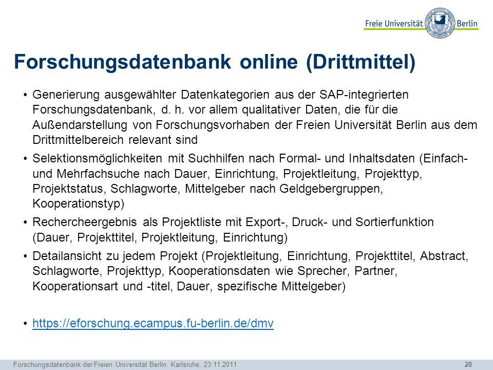 Forschungsdatenbank online (Drittmittel)