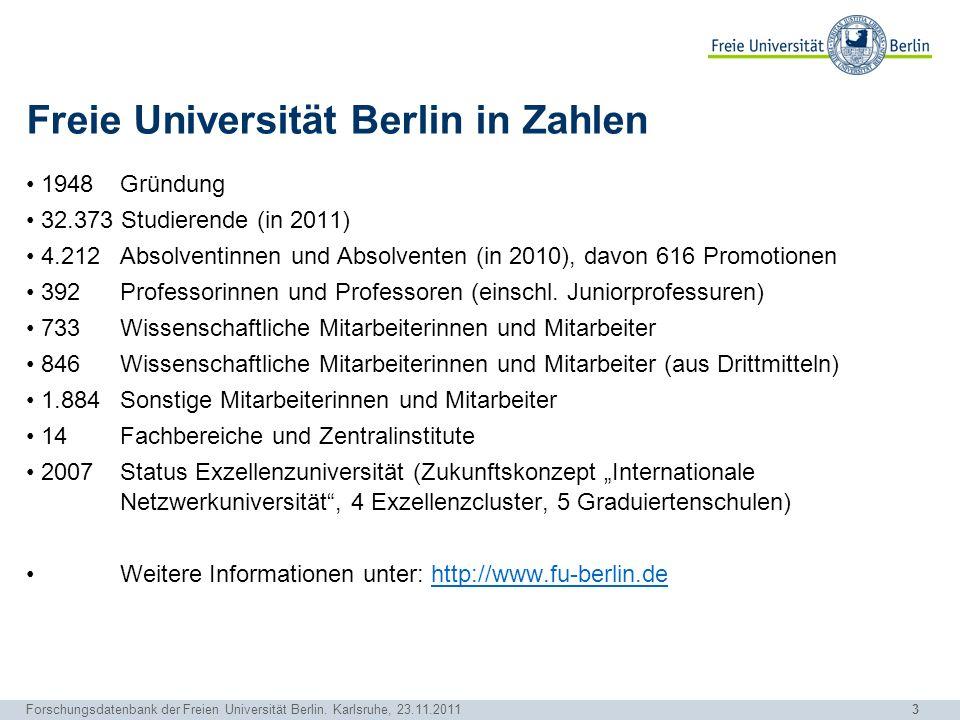 Freie Universität Berlin in Zahlen