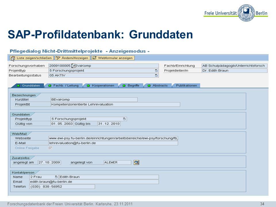 SAP-Profildatenbank: Grunddaten