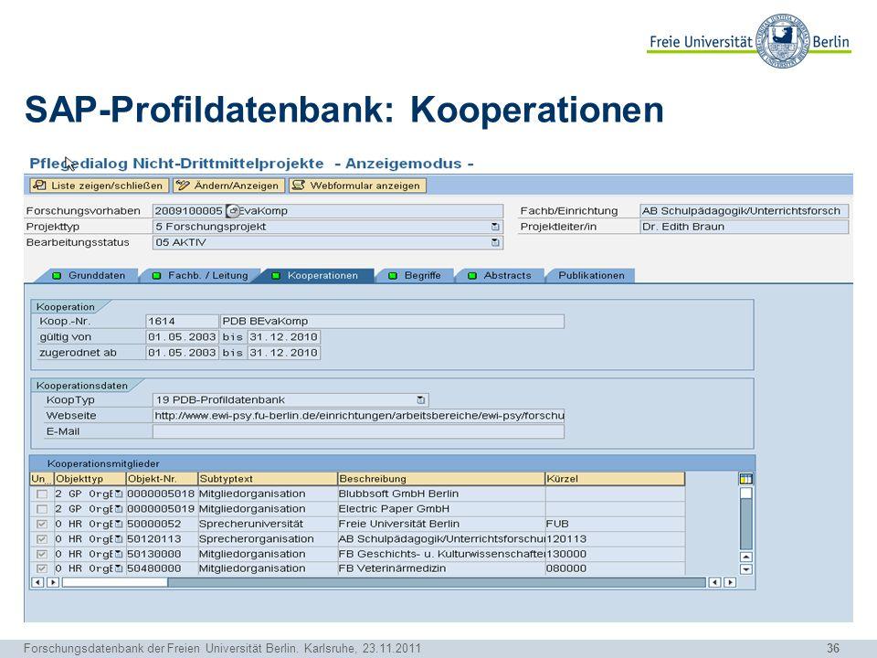 SAP-Profildatenbank: Kooperationen