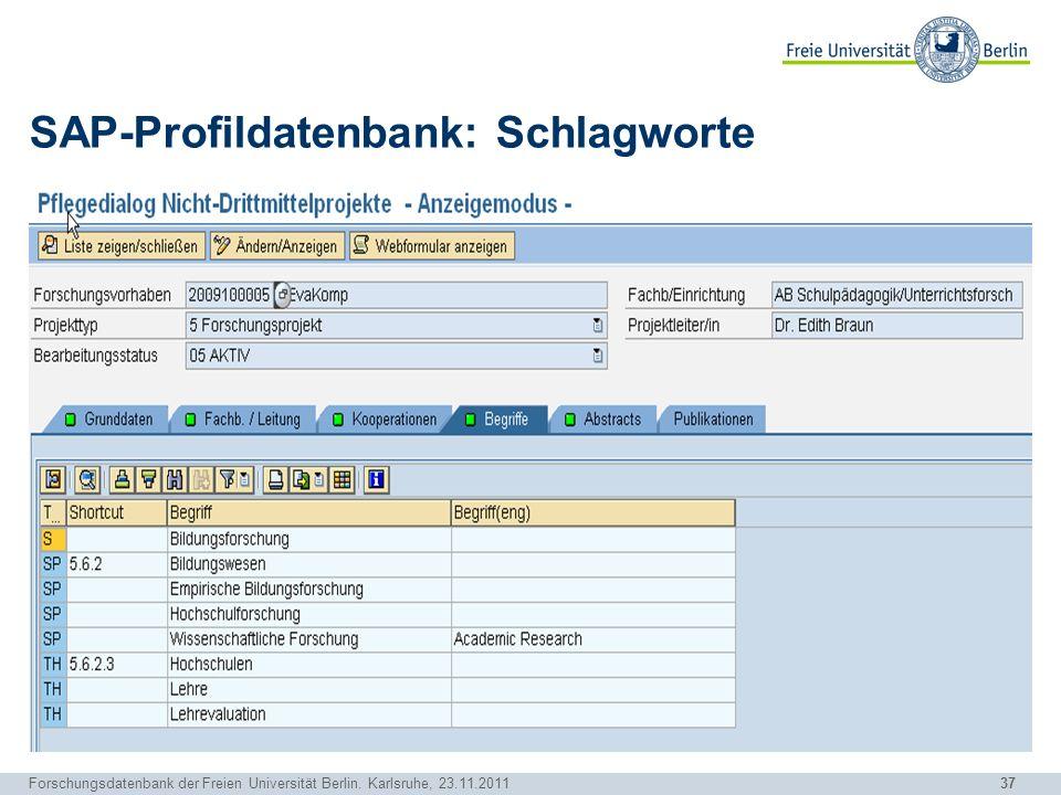SAP-Profildatenbank: Schlagworte