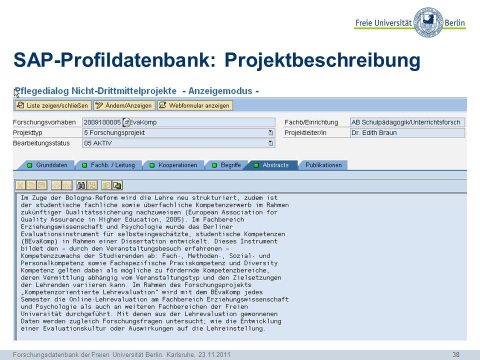 SAP-Profildatenbank: Projektbeschreibung