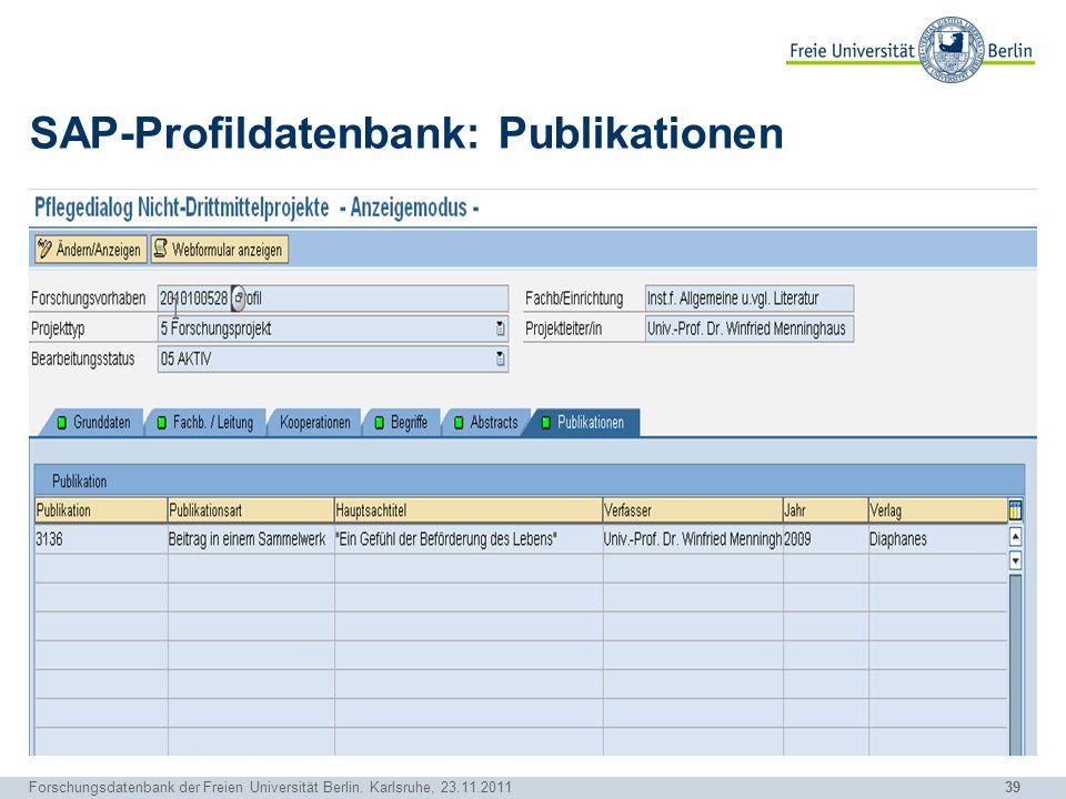 SAP-Profildatenbank: Publikationen