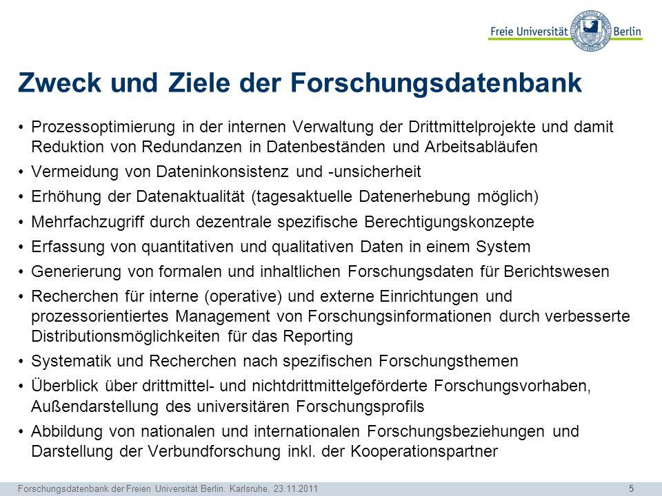 Zweck und Ziele der Forschungsdatenbank