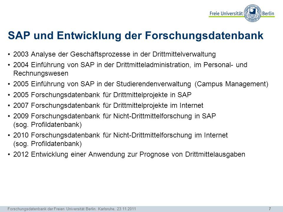 SAP und Entwicklung der Forschungsdatenbank