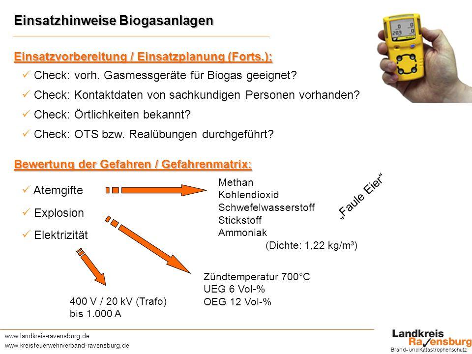 Einsatzhinweise Biogasanlagen