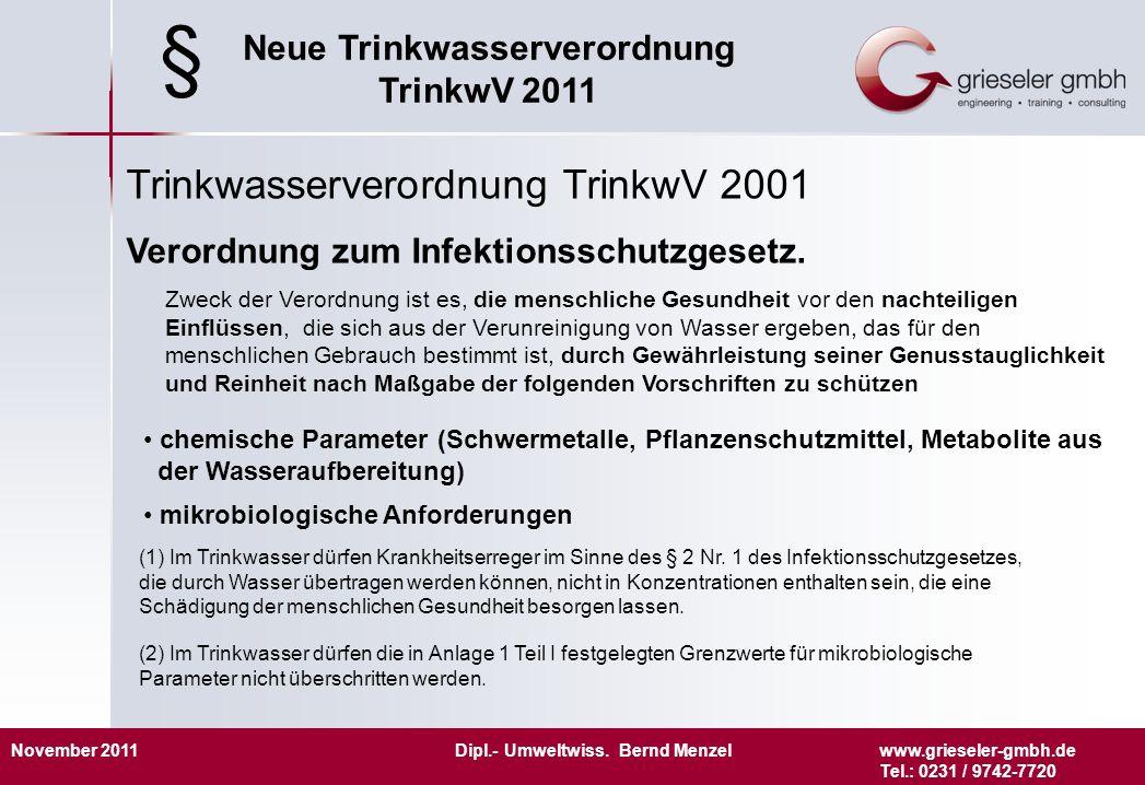 § Trinkwasserverordnung TrinkwV 2001