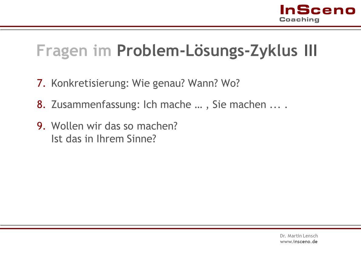 Fragen im Problem-Lösungs-Zyklus III