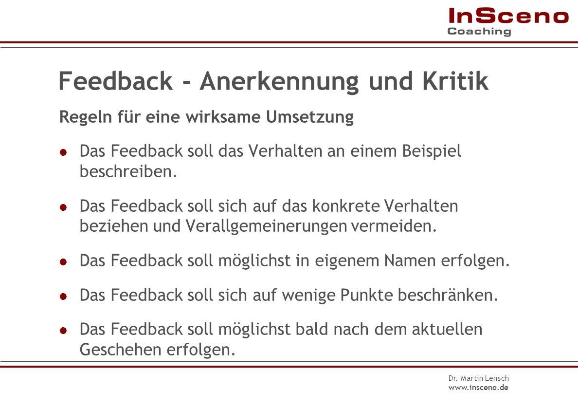 Feedback - Anerkennung und Kritik