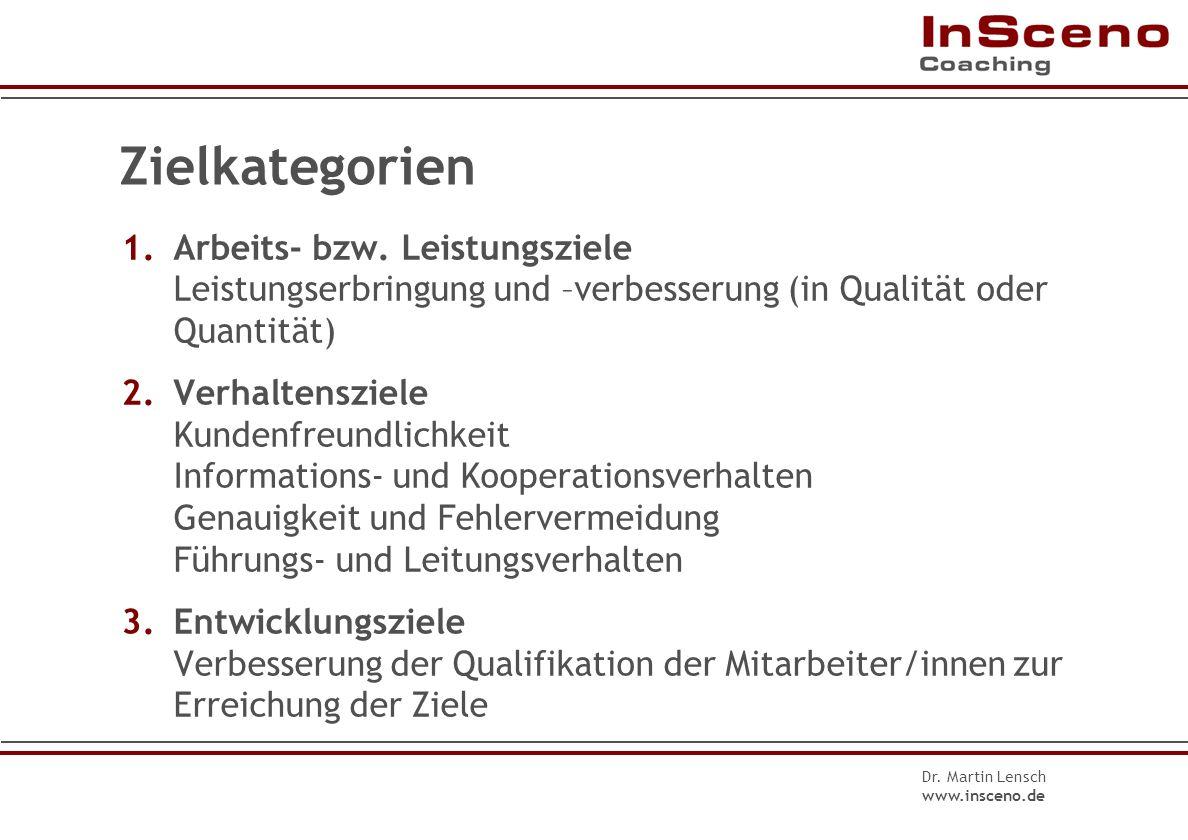 Zielkategorien 1. Arbeits- bzw. Leistungsziele Leistungserbringung und –verbesserung (in Qualität oder Quantität)