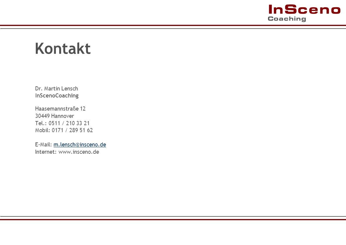 Kontakt Dr. Martin Lensch InScenoCoaching Haasemannstraße 12