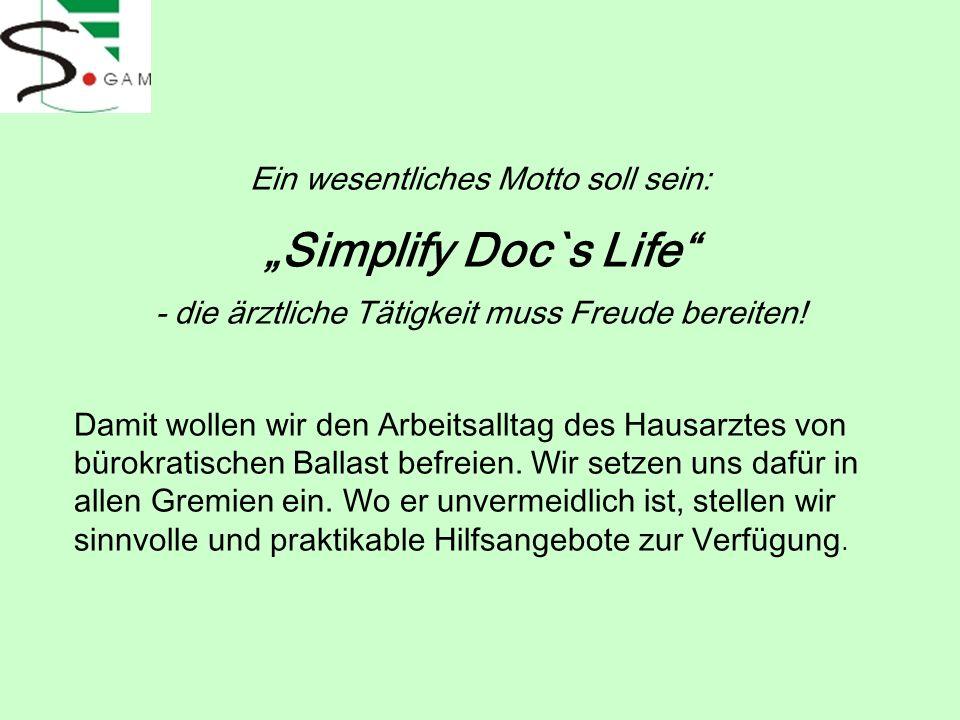 """""""Simplify Doc`s Life Ein wesentliches Motto soll sein:"""