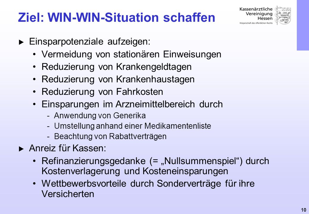 Ziel: WIN-WIN-Situation schaffen