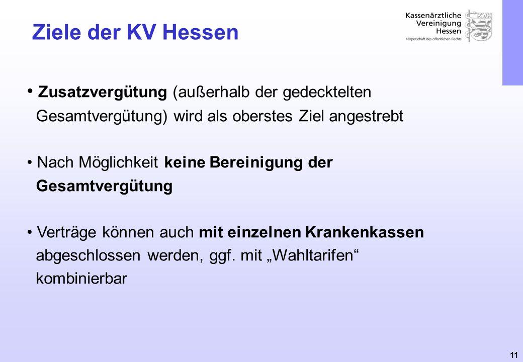 Ziele der KV Hessen Zusatzvergütung (außerhalb der gedecktelten Gesamtvergütung) wird als oberstes Ziel angestrebt.