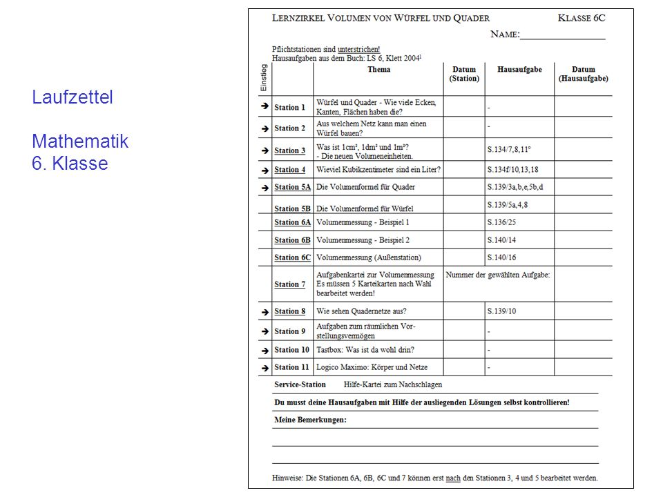 Laufzettel Mathematik 6. Klasse
