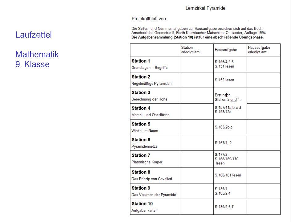 Laufzettel Mathematik 9. Klasse